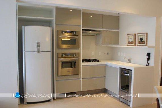 ترکیبی از کابینت های سفید و نقره ای در آشپزخانه