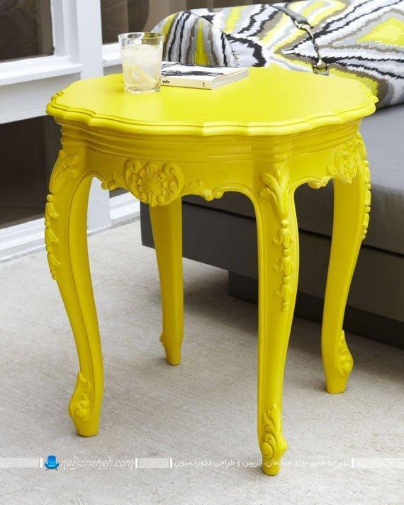 میز عسلی زرد رنگ