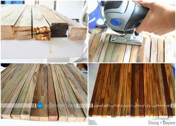 تزیین میز چوبی قدیمی