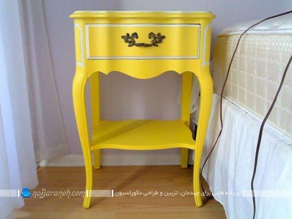 میز پاتختی زرد رنگ