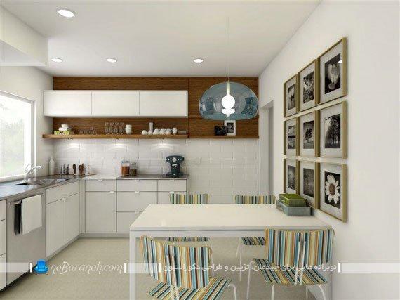 قفسه بندی و بوفه روی دیوارهای آشپزخانه