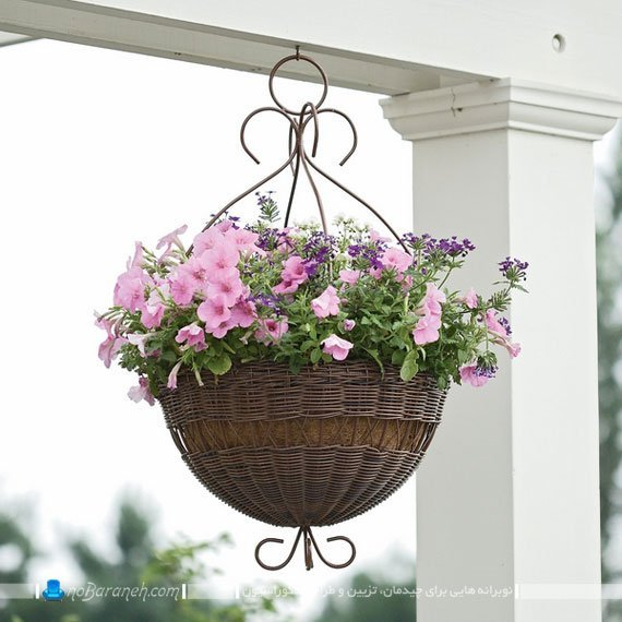 مدل گلدان آویز حصیری