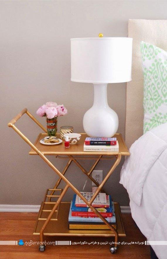 میز کنار تخت (پاتختی) با فضای قرار دادن کتاب