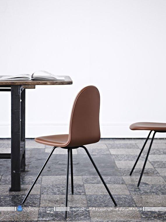 صندلی فانتزی ناهارخوری با رویه چرمی و پارچه ای