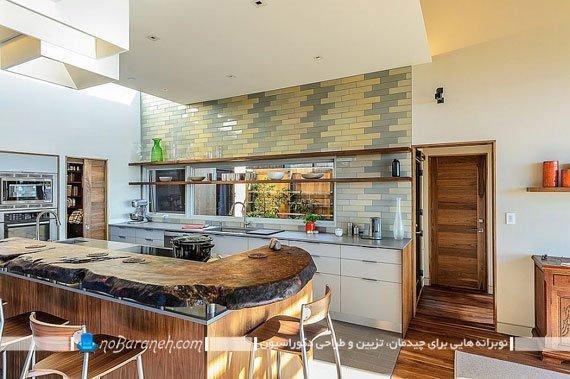 کاشی دیواری آشپزخانه با رنگ زرد