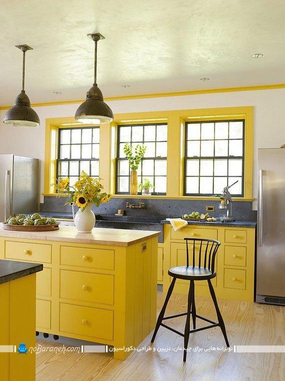 دیزاین آشپزخانه با زرد و خاکستری