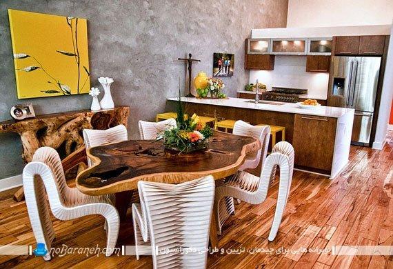 تزئین آشپزخانه اپن با رنگ زرد