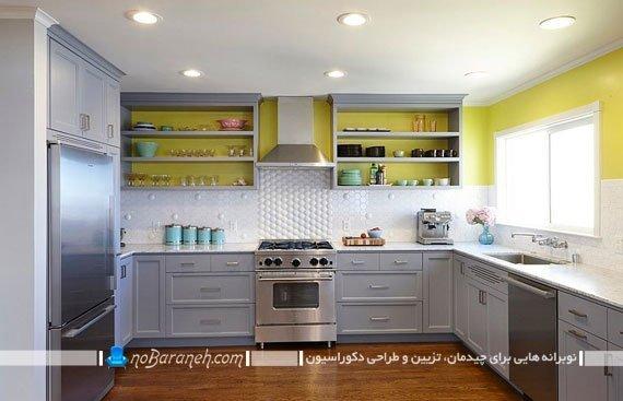 تزئین آشپزخانه با رنگ زرد و سفید