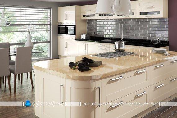 رنگ کرم را برای کابینت آشپزخانه انتخاب کنیم یا نه ؟ | نوبرانهکابینت های چوبی کرم رنگ با رویه طرح چوب