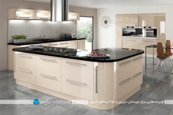 رنگ کرم را برای کابینت آشپزخانه انتخاب کنیم یا نه ؟ | نوبرانه... چوب کابینت های کرم رنگ با رویه هایگلاس سیاه