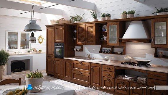 آشپزخانه کلاسیک با کابینت های ممبران. دکوراسیون قهوه ای و سفید آشپزخانه کلاسیک و سنتی