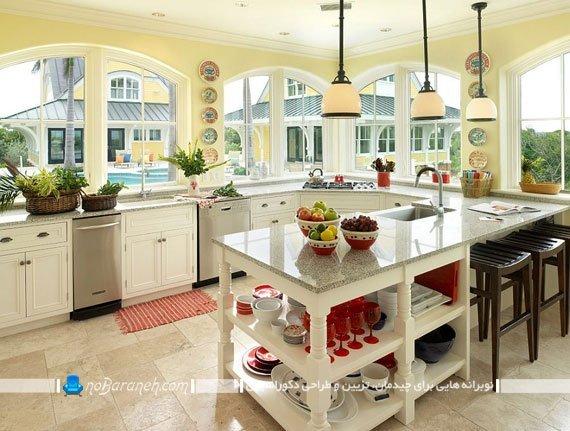طراحی دکوراسیون آشپزخانه کلاسیک با رنگ کرم
