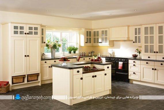 مدل کابینت کرم قهوه ای. مدل ساده و کلاسیک آشپزخانه بسته و سنتی شیک با رنگ آمیزی کرم و قهوه ای