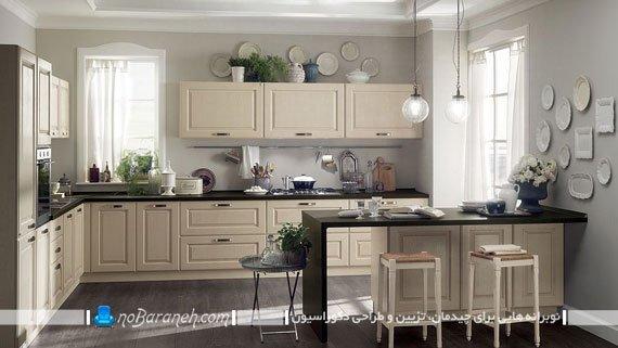 آشپزخانه اپن با کابینت های کلاسیک