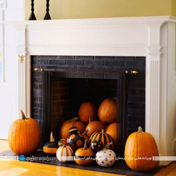 تزیین شومینه به شکل هالووینی