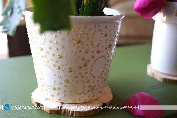 تزیین گلدان های گلی و سفالی قدیمی