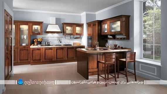 کابینت های کلاسیک خارجی. عکس مدل کابینت کلاسیک رومی و ساده شیک و زیبا چوبی قهوه ای رنگ