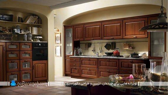 آشپزخانه کلاسیک با مدل کابینت های ساده