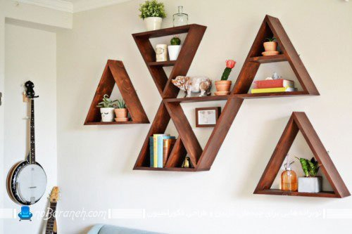 شلف چوبی دیواری و دکوری