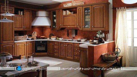 مدل کابینت ممبران و کلاسیک. کابینت کلاسیک قهوه ای رنگ. دکوراسیون سنتی و کلاسیک آشپزخانه