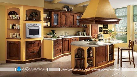 طراحی آشپزخانه به شکل کلاسیک و سنتی. مدل دکوراسیون آشپزخانه جزیره کلاسیک