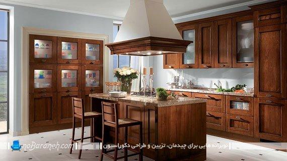 مدل آشپزخانه کلاسیک و جزیره ای. مدل آشپزخانه کلاسیک با چیدمان جزیره