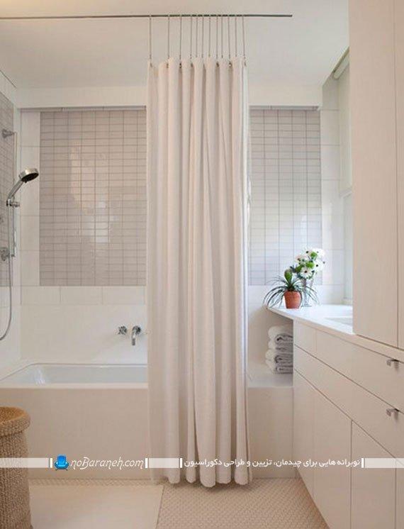 پرده حمام با رنگ سفید
