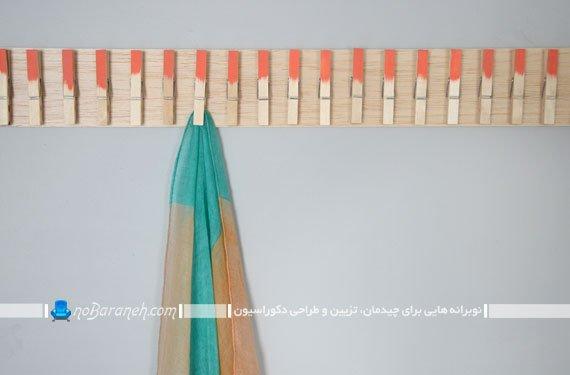 رخت آویز چوبی برای شال گردن و روسری