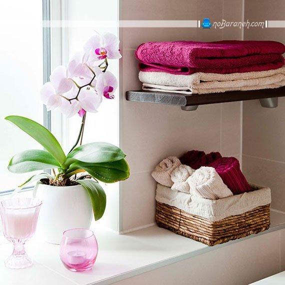 تزیین دکوراسیون حمام با گلدان گل و گیاهان طبیعی