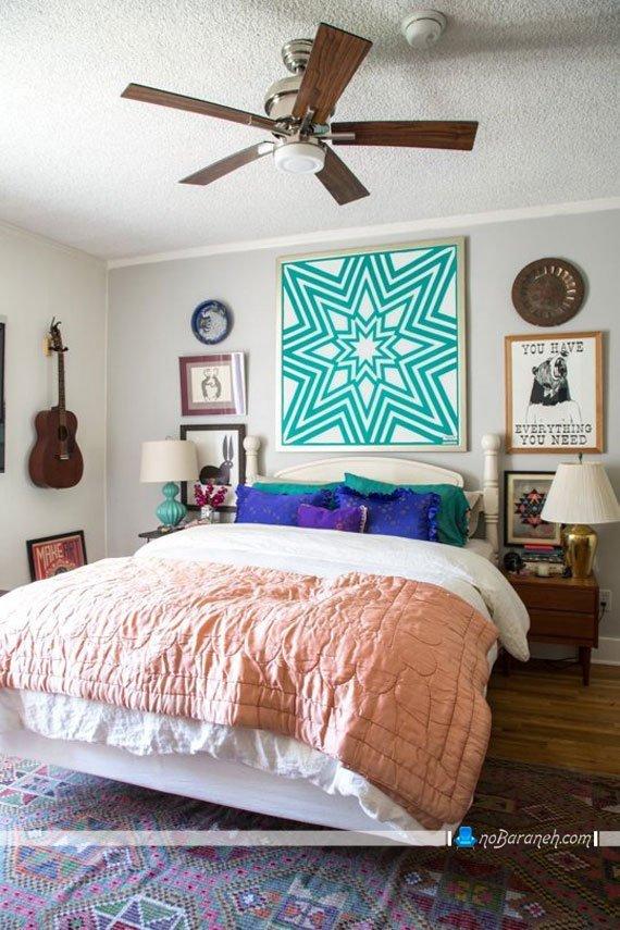 تزیینات فراوان در اتاق خواب