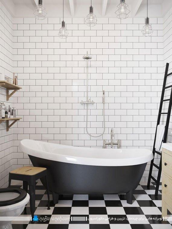 دکوراسیون حمام با سفید و مشکی در خانه دوبلکس