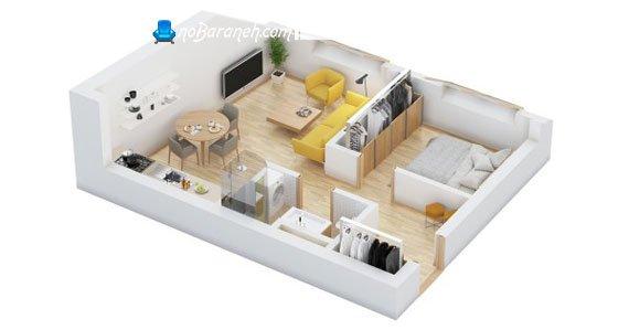 چیدمان خانه کوچک یک خوابه