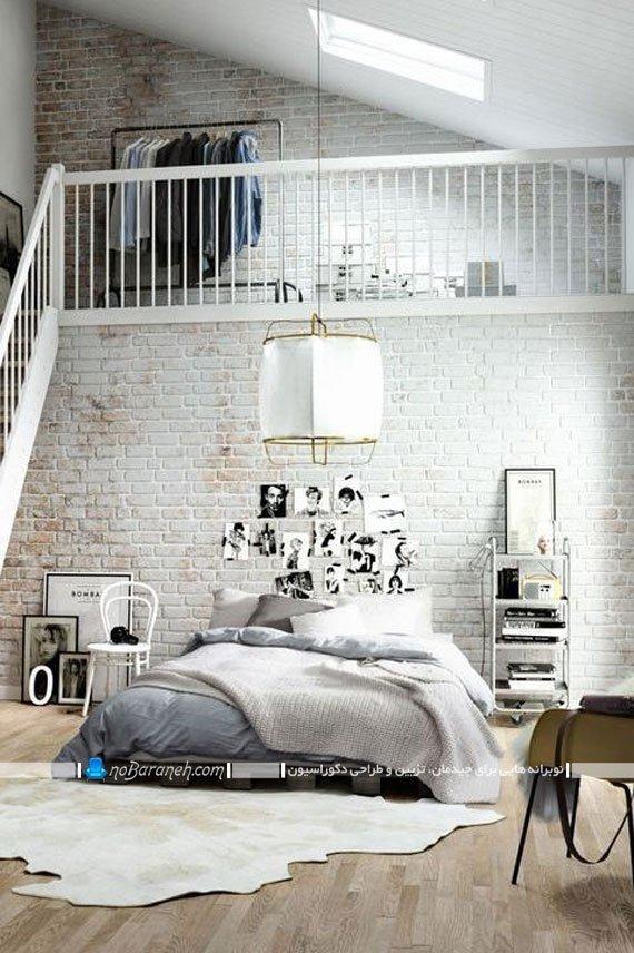 دیوار آجری سنتی در اتاق خواب
