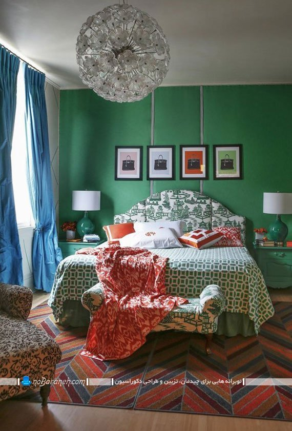 طراحی دکوراسیون اتاق خواب با رنگ سبز و آبی و قرمز