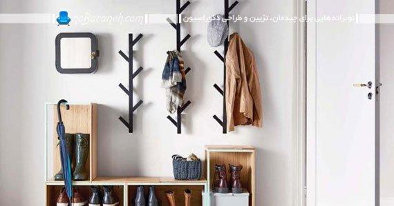 جا کفشی و رخت آویز دیواری ساده