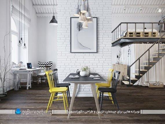 طراحی دکوراسیون داخلی خانه دوبلکس با رنگ زرد