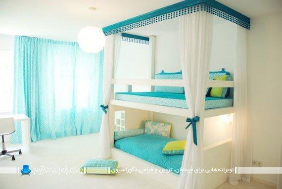 تخت خواب دو طبقه کمجا برای اتاق بچه های دوقلو
