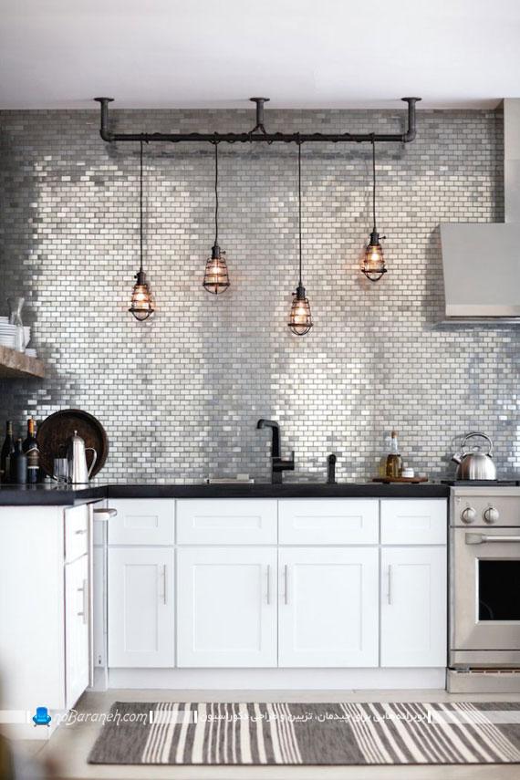 کاشی و سرامیک آجری و براق دیوار آشپزخانه