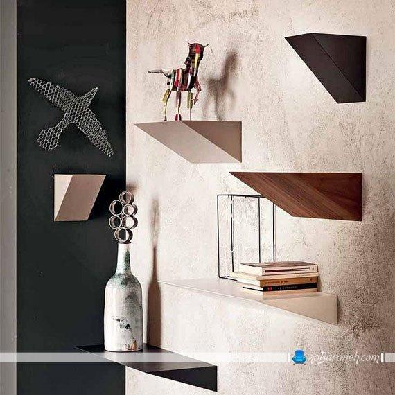 تزیین دیوارهای خانه با طبقه های چوبی