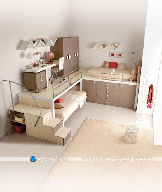 اتاق خواب کودکان و نوجوانان دوقلو با تخت کمجا
