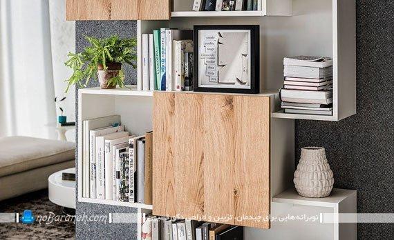 کتابخانه چوبی با درهای ریلی و کشویی