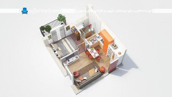 پلان سه بعدی چیدمان خانه یک خوابه