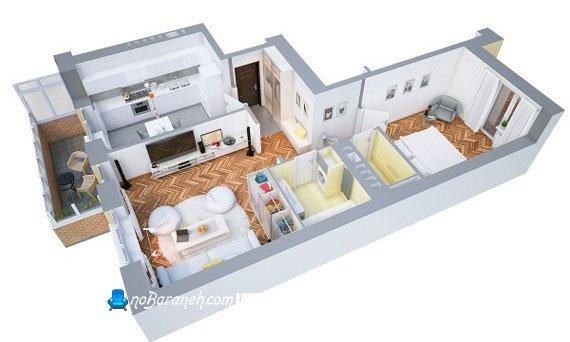 پلان سه بعدی خانه کوچک