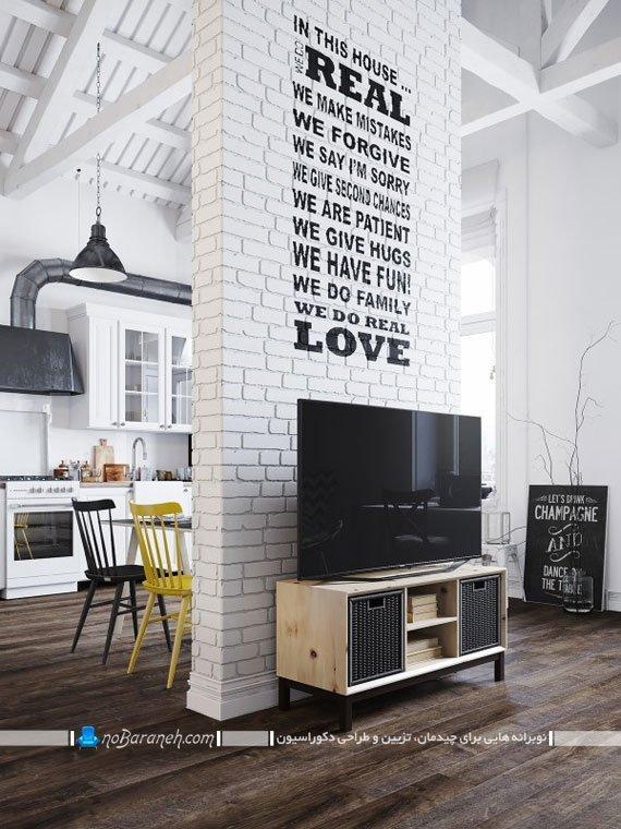 مدل میز تلویزیون چوبی ساده چیدمان شده در خانه دوبلکس