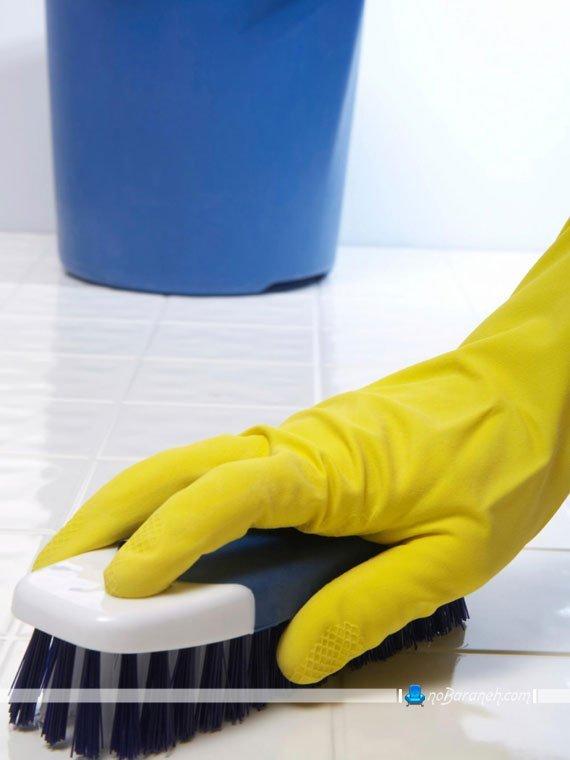 نظافت سنگ و کاشی های حمام و دستشویی