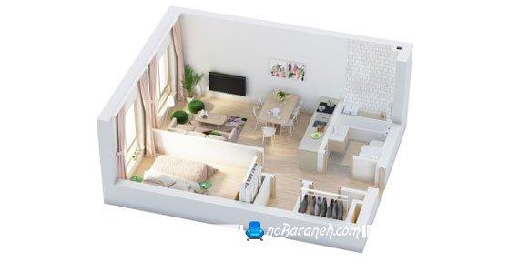 مدل چیدمان و طراحی دکوراسیون خانه یک خوابه