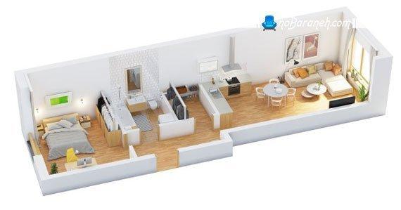پلان خانه کوچک یک خوابه