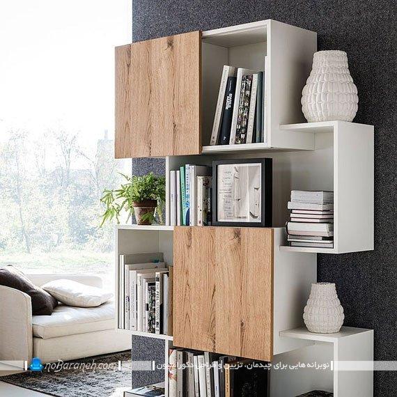 کتابخانه و قفسه بندی چوبی مدرن