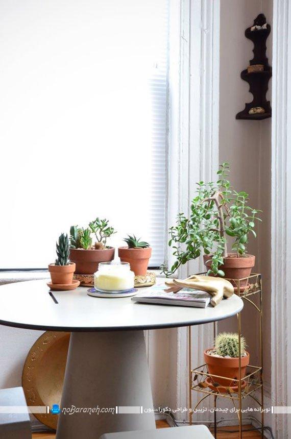تزیین روی میزها با گلدان رومیزی