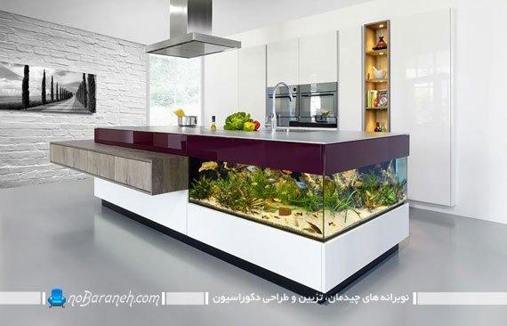 جاسازی آکواریوم در میز اپن و دکوراسیون آشپزخانه